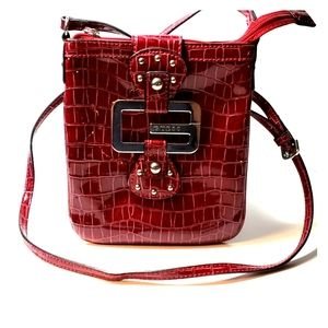 Guess red Patent leather crossbody purse